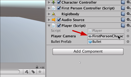 Player script component with FPS character added
