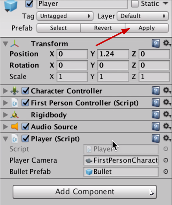 Player prefab Apply button in Unity Inspector