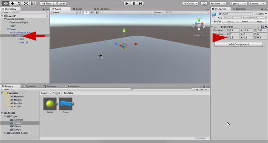 Gun object scaled in Unity