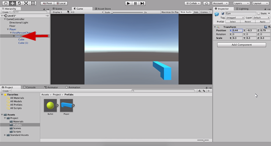 Gun object repositioned in Unity