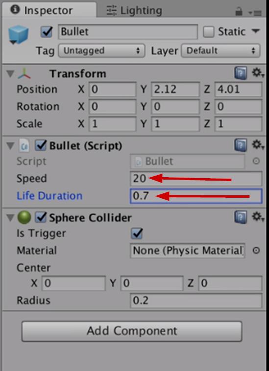 Bullet settings in Unity Inspector