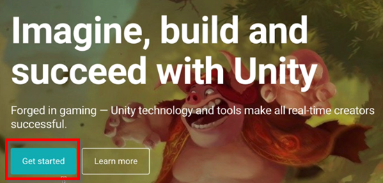 Unity website with Get started button circled