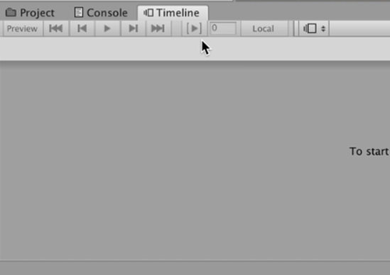 Blank Timeline window in Unity