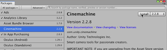 Unity Cinemachine package