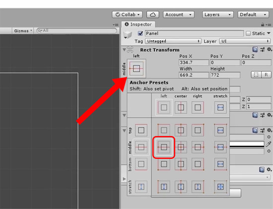 Unity Inspector with anchor set to middle left