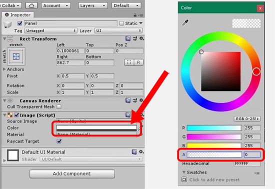 Unity image component with color picker open