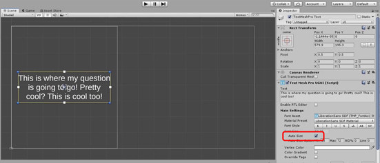 Text Mesh Pro object with Auto Size selected in Unity