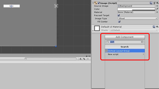 Unity Add Component button with Vertical Layout Group selected