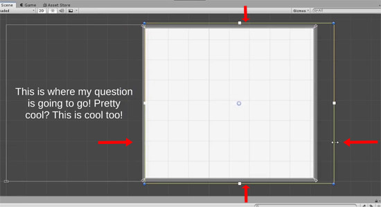 Unity scene with button centered