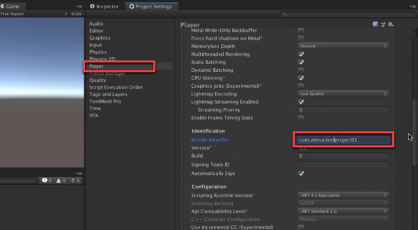 Unity Project Settings with Bundle Identifier labeled