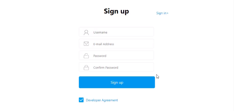 EasyAR website sign up page