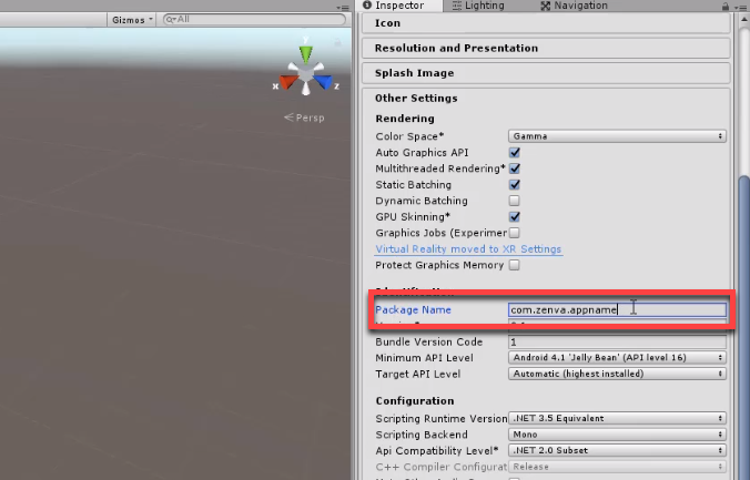 Unity Inspector with Package Name set