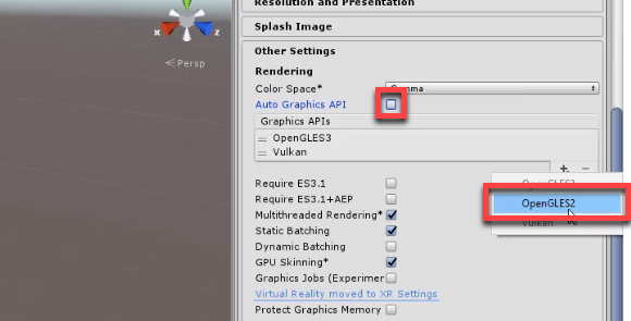 Unity Inspector with Rendering set to OpenGLES2