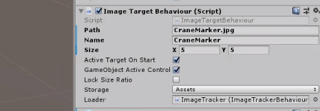 Image Target Behavior component in Unity