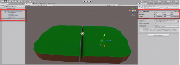 Unity scene with two tectonic plates added