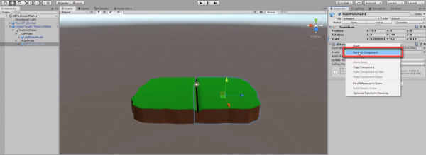 Unity Inspector with Remove Component selected