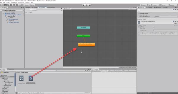 Unity Animator window with animation added