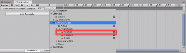 Unity Animation timeline with Transform Position selected