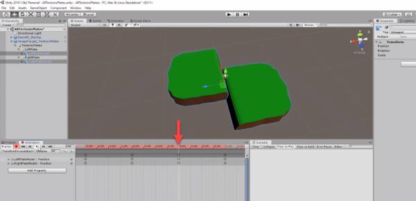 Unity animation timeline with arrow pointing to keyframes