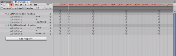 Unity Animation timeline showing various position changes