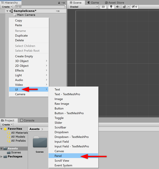 Unity Hierarchy with UI > Panel selected