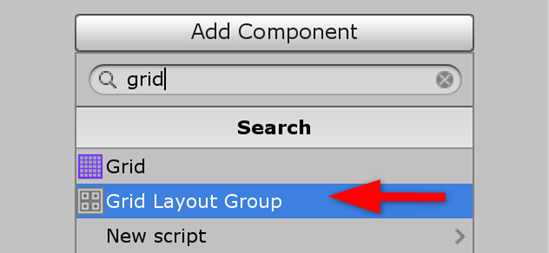 Unity Add Component with Grid Layout Group selected