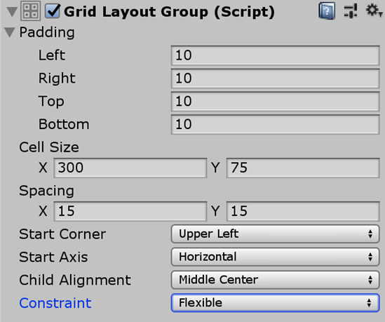 Unity Grid Layout Group Component