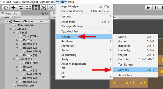 Unity Window menu with Services selected