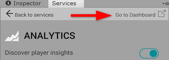 Unity Services tab with Analytics selected