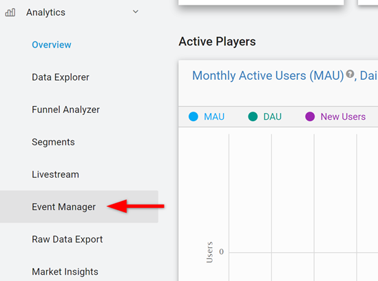 Unity Event Manager selected from Analytics Dashboard