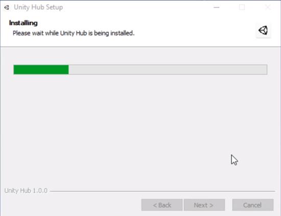 Unity Hub setup installing