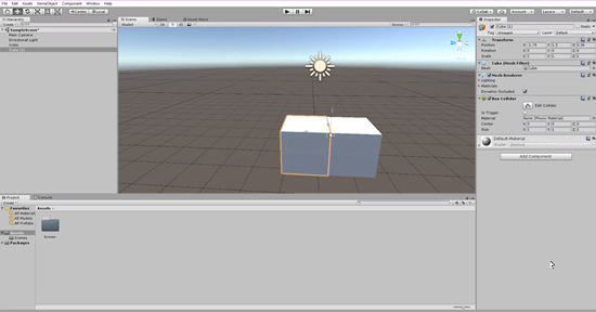 Unity scene with cubes snapped by vertices