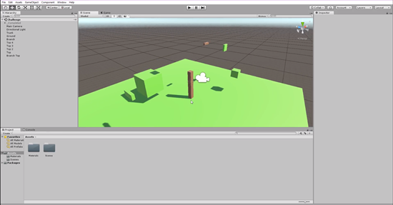 Disassembled tree in Unity scene
