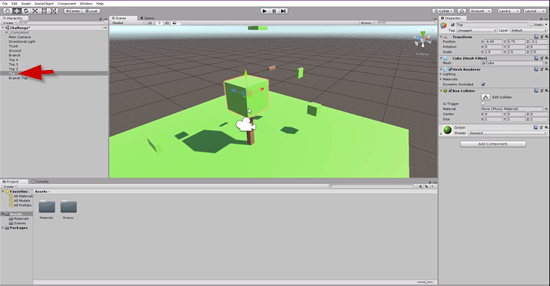 3D tree in Unity with green cube added on pole