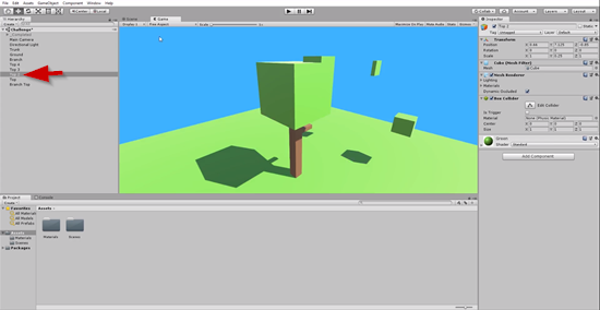 3D leaf bunch snapped to top of tree in Unity