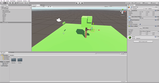 3d leaf bunch snapped to bottom of tree in Unity
