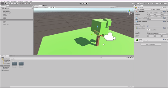 3d leaf bunch added to side of tree model in Unity