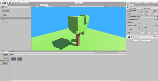 Unity game screen with 3D model tree positioned