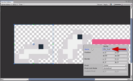 Unity sprite sheet with first sprite renamed idle_toad