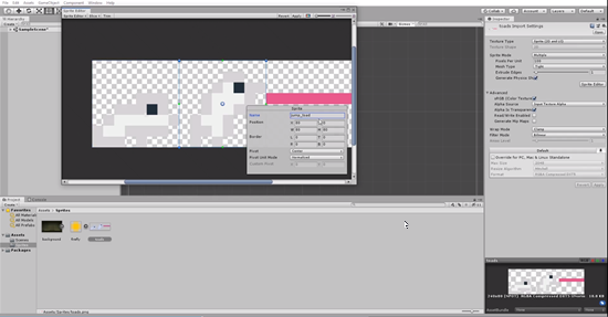 Unity sprite sheet with second sprite renamed to jump_toad