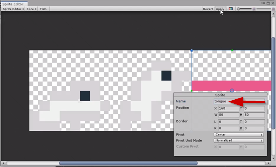 Unity sprite sheet with sprite renamed to tongue