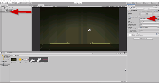 Unity scene with white frog sprite added