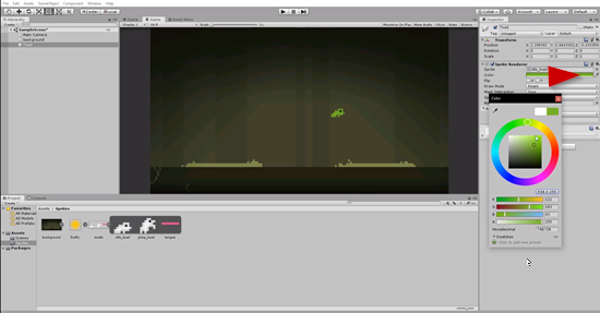 Unity scene with frog sprite colored green in Inspector