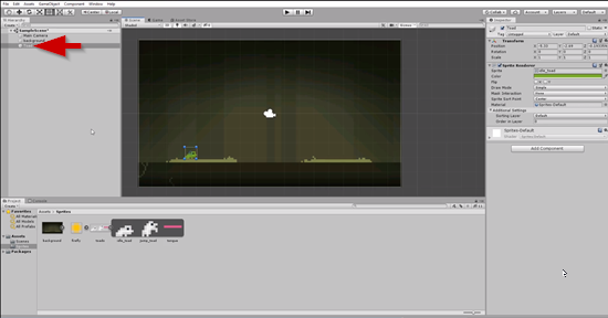 Unity scene with frog moved to bottom left