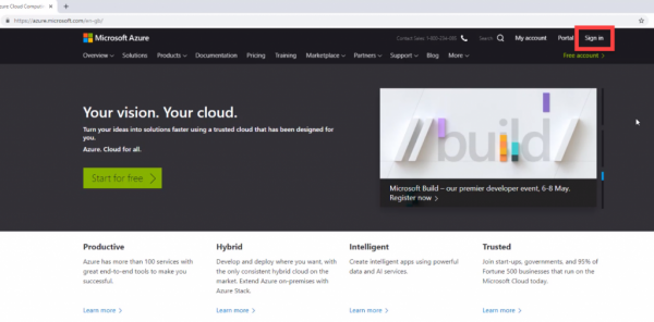 Microsoft Azure website