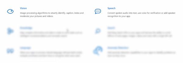 Cognitive Service options for Azure