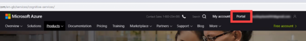 Microsoft Azure website with Portal link circled