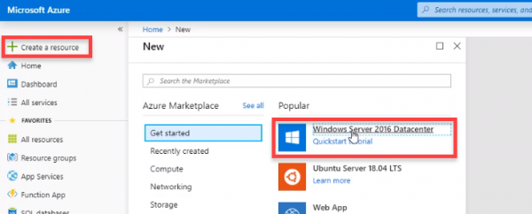 Azure with Create a resource > Windows Server 2016 selected