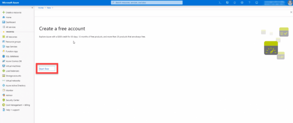 Microsoft Azure asking about a free account