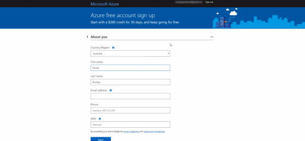 Azure free account sign up page